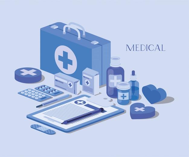 Kit médico con orden en lista de verificación y set de iconos