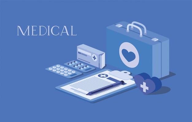 Kit médico con pedido en lista de control y medicamentos.