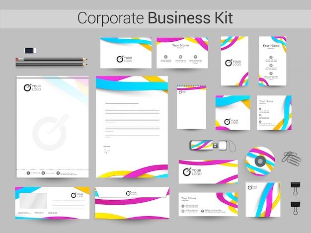 Kit de negocios corporativos con olas coloridas.