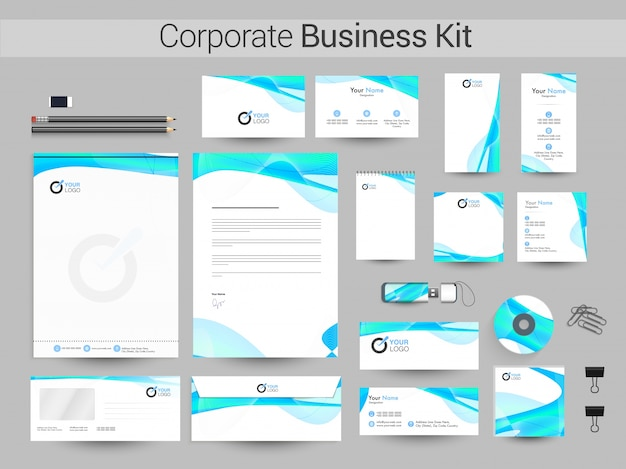 Kit de negocios corporativos con ondas abstractas brillantes.