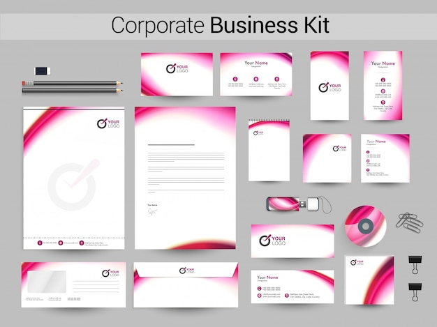 Kit de negocios corporativos con ondas de color rosa.