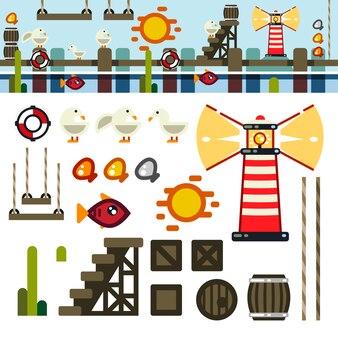 Kit de nivel de juego plano de la bahía