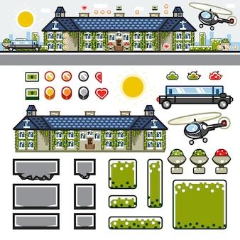 Kit de nivel de juego plano mansión