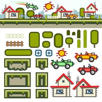 Kit de nivel de juego plano de pueblo pequeño