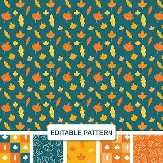 Kit de patrones sin fisuras editable de hojas de otoño