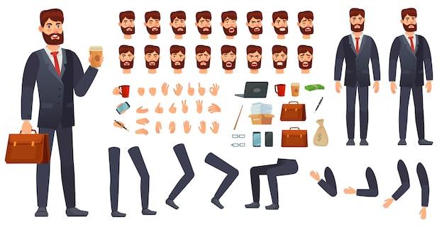 Kit de personaje de empresario de dibujos animados. constructor de personajes de negocios, diferentes gestos con las manos, emociones faciales y conjunto de vectores de piernas