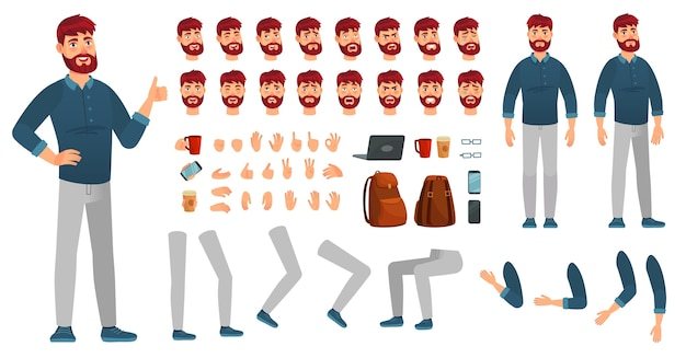 Kit de personaje masculino de dibujos animados. hombre en ropa casual, diferentes manos, poses de piernas y emoción facial. poses de constructor de personajes, hipster o empresario creativo. conjunto de iconos de vector aislado