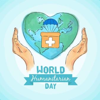 Kit de primeros auxilios para la tierra del día mundial humanitario