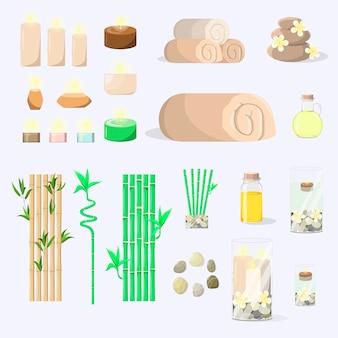 Kit spa vechi toallas piedras aceites bambú