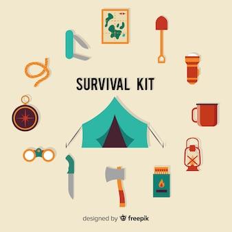 Kit de supervivencia de emergencia con diseño plano