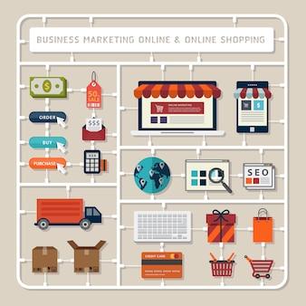Kits de modelos de diseño plano de pensamiento creativo para marketing comercial en línea y herramientas de compra en línea Vector Premium