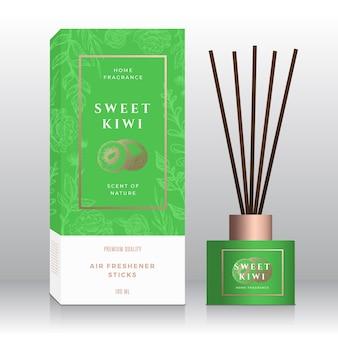Kiwi dulce fragancia casera palos resumen vector etiqueta caja plantilla boceto dibujado a mano flores hojas hojas ...