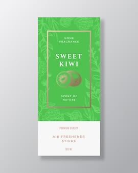 Kiwi fragancia casera resumen vector etiqueta plantilla boceto dibujado a mano flores hojas fondo y r ...