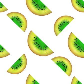 Kiwi rebanadas de patrones sin fisuras. ilustración de vector de fruta de verano aislada sobre fondo blanco. se puede utilizar para imprimir sobre textiles, rellenos de patrones, texturas o papel de regalo y papeles pintados.