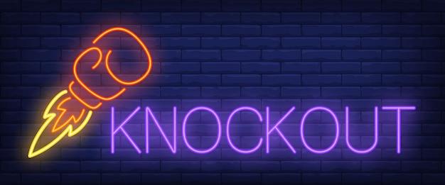 Knockout texto de neón con cohete guante de boxeo