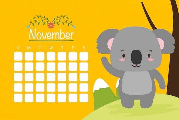 Koala con calendario, animales lindos, plano y estilo de dibujos animados, ilustración