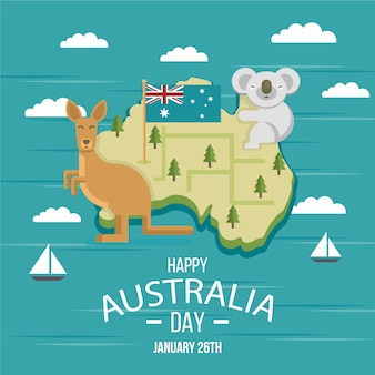 Koala y canguro en el día de australia