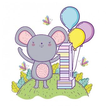 Koala cumpleaños un año con globos.