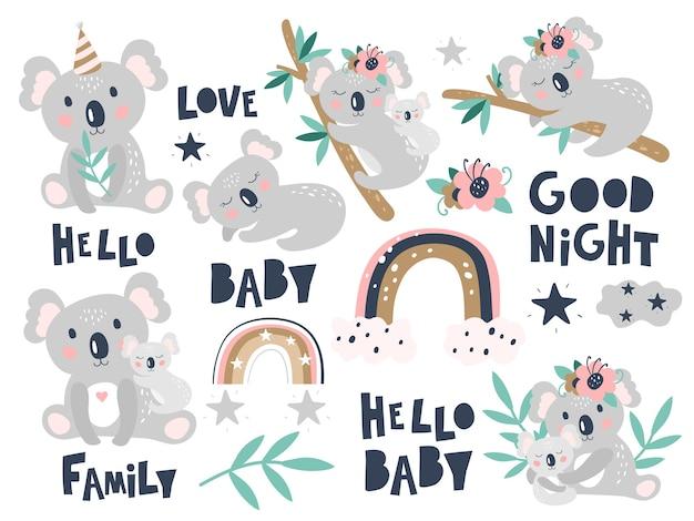 Koala de dibujos animados lindo sobre un fondo blanco. los niños imprimen.