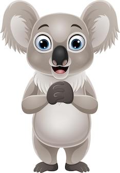 Koala divertido de dibujos animados en blanco