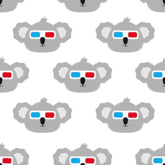 Koala con gafas ilustración de dibujos animados de patrones sin fisuras