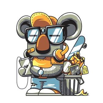 Koala joven con gadget