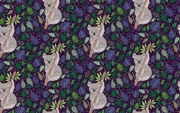 Koala linda rodeada de hojas. patrón sin costuras vector verano en estilo de moda