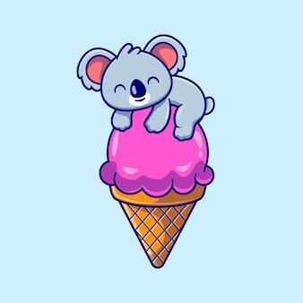 Koala lindo en la ilustración de dibujos animados de cono de helado. concepto de alimento animal aislado. estilo de dibujos animados plana