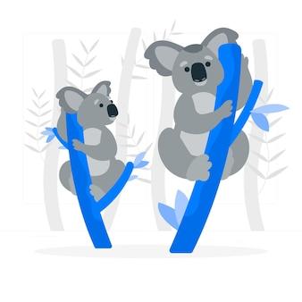 Koalas en la ilustración del concepto de árboles