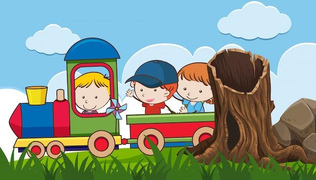 Kod montando un tren en el parque
