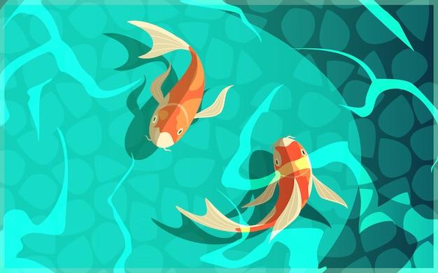 Koi carpa símbolo japonés de suerte fortuna prosperidad dibujos animados retro peces en agua cartel