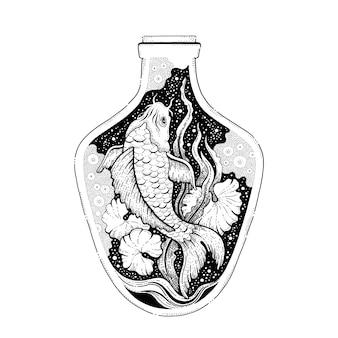Koi pez japonés en botella, diseño surrealista.