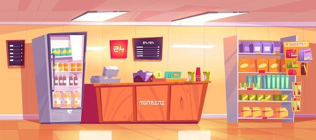 Konbini, interior de tienda de conveniencia con mostrador de caja de madera