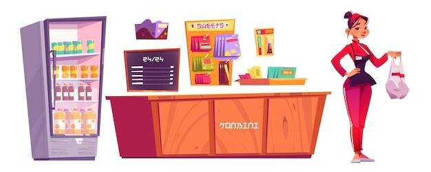 Konbini, muebles de tienda de conveniencia y vendedor de mujer aislado sobre fondo blanco.