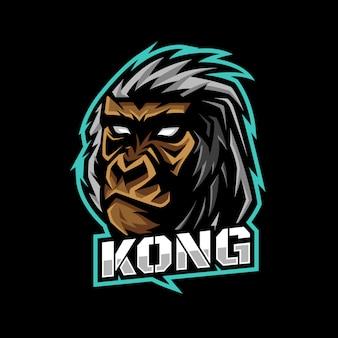 Kong gorilla head gaming logo esport