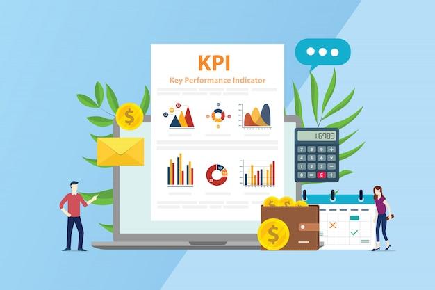 Kpi concepto de indicador de rendimiento clave