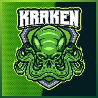 Kraken octopus esport y diseño de logotipo de mascota deportiva con ilustración moderna. ilustración de tentáculo de calamar