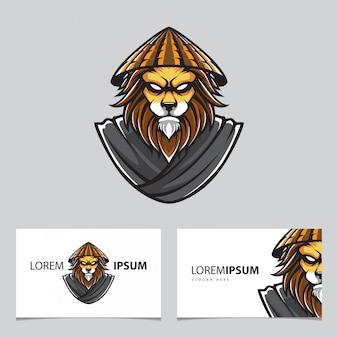 Kung fu lion mascota y tarjetas de visita