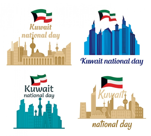 Kuwait torre horizonte banner concepto conjunto estilo plano