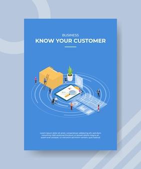 Kyc conoce la plantilla de cartel de concepto de cliente con ilustración de vector de estilo isométrico