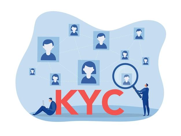 Kyc o conozca a su cliente con negocio verificando la identidad del concepto de sus clientes en los futuros socios a través de un ilustrador vectorial de lupa