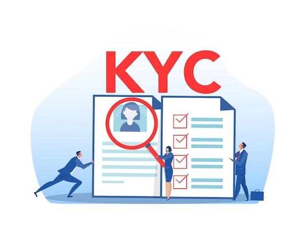 Kyc o conozca a su cliente con negocio verificando la identidad