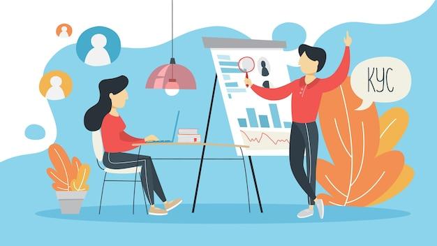Kyc o conozca su concepto de cliente. idea de identificación empresarial y seguridad financiera. delito cibernético. ilustración