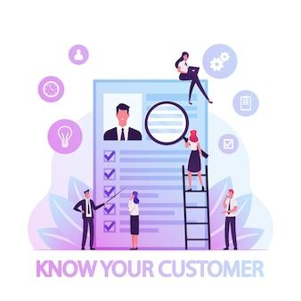 Kyc o conozca su concepto de cliente, ilustración plana de dibujos animados