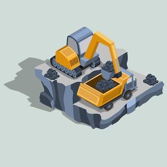 La excavadora minera carga carbón en un vector isométrico del camión volquete