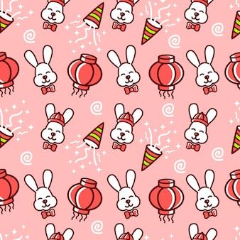 La lámpara divertida lunar china del conejo del modelo inconsútil celebra el fondo