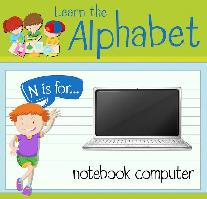 La letra n de flashcard es para computadora portátil