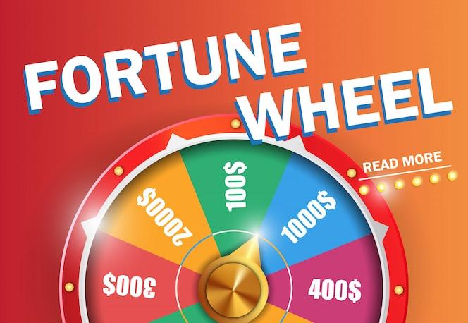 La rueda de fortuna lee más inscripción en fondo anaranjado.