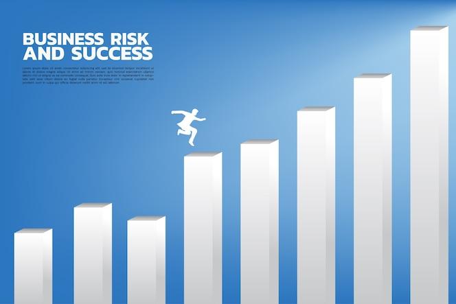 La silueta del hombre de negocios salta a una columna más alta del gráfico.