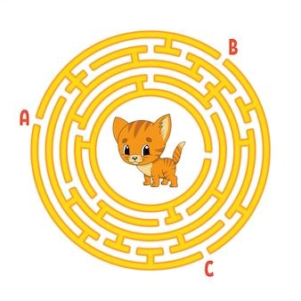 Laberinto circular. gato animal. juego para niños. rompecabezas para niños. enigma de laberinto redondo.